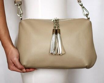 Free shipping! Beige leather bag, gray belt, leather shoulder bag, beige crossbody, womans bag, beige purse, everyday bag, casual bag