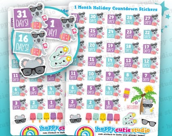 37 Cute Holiday/Vacation/Monthly Countdown Planner Stickers, Filofax, Happy Planner, Erin Condren, Kawaii, Cute Sticker, UK
