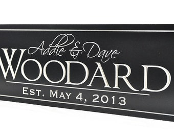 Family Established Name Sign Plaque Personalized Family Sign 8x24 Carved Engraved Wall Sign wedding or anniversary gift