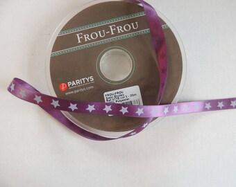 Satin ribbon stars stars plum purple