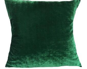 Dark green velvet pillow, deep green velvet decorative pillow, forest green pillow 26 inch velvet floor pillows, green velvet euro sham