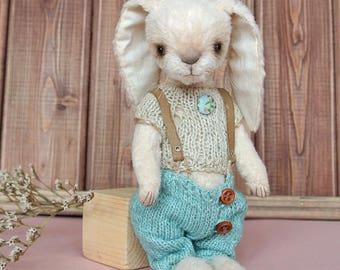 Bunny Teddy Nico stuffed rabbit in clothes, OOAK