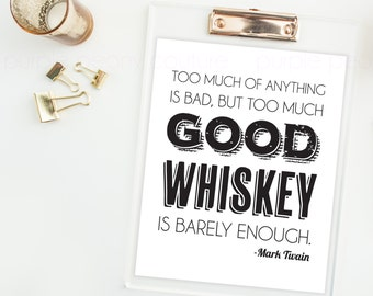 Whiskey Poster Rustic Wedding Sign Men Bar Decoration Art Print Digital Printable PDF