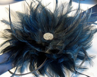 Navy feather bridal belt - navy wedding sash - navy feather brooch