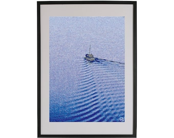 Boat on the water art print. High quality Scandinavian contemporary art piece