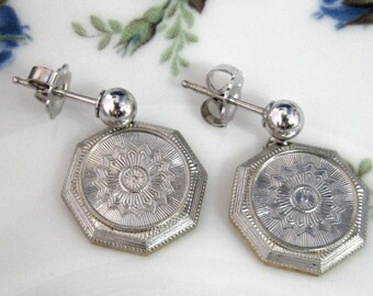 Earrings Solid 14kt Gold From Antique Cufflink Engraved Starburst Edwardian Rhodium Top