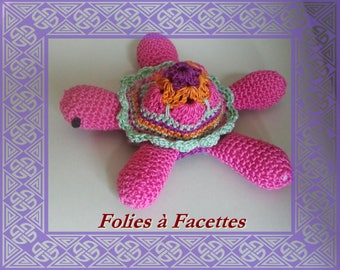 Turtle crochet african flower cotton