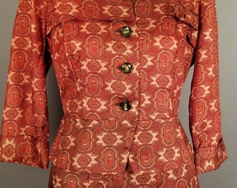 1950's Vintage Brown Skirt Suit, Rust Colored Tailored Two Piece Suit with Pattern