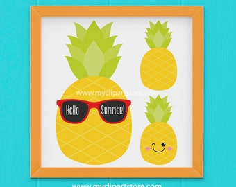 Clipart - Pineapple / Kawai / Sunglasses (Single Clipart Image) - Digital Clip Art (Instant Download)