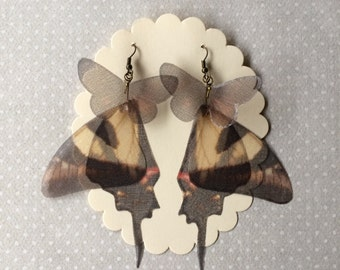 I Will Fly Away - Handmade Silk Organza Swallowtail Brown and Beige Butterfly Wings Earrings