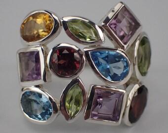 Vibrant Vintage Multi Gemstone Sterling Ring Size 8.5