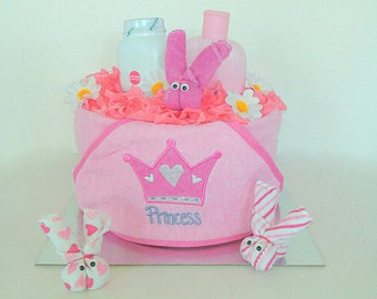 Baby bath towel nappy cake baby girl baby shower gift
