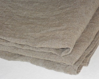 Rustic burlap tablecloth, taupe gray ecru linen table cloth, washed rustic vintage look small flax table cloth