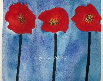 Poppies No. 008 - Original Watercolor Painting, Floral, Art, Wall Decor