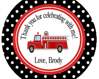Printable Fire Engine Favor Tags/Personalized Fire Truck Party Circles/Stickers/ Matching Items Available