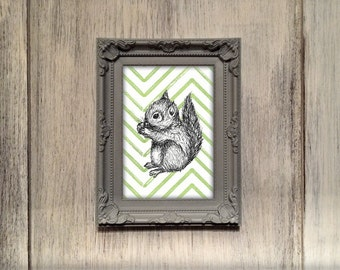 Squirrel Nursery Print, woodland animal illustration ideal decor for kids bedroom, playroom, new baby room. 5x7 to fit standard photo frame.