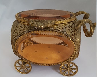 Vintage Ormolu Jewelry Carriage or Cart // Metal Filigree with Beveled Glass Sides // Jewelry Casket // Trinket Box // Jewelry Display