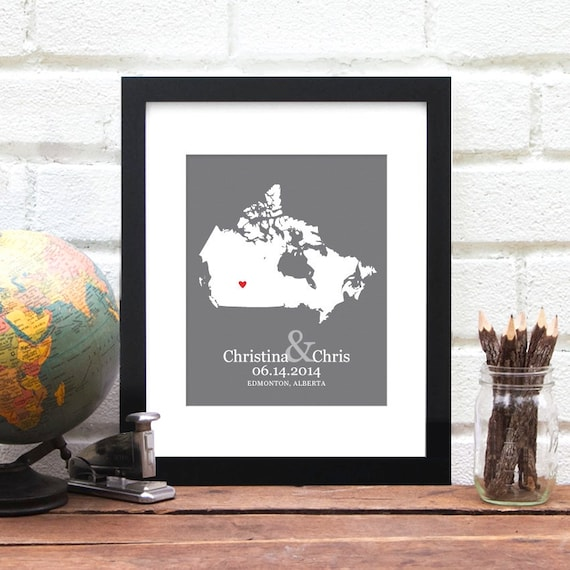 Canadian map canada anniversary gift personalized love map like this item gumiabroncs Choice Image
