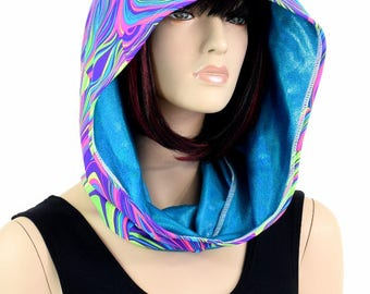 Short Reversible Festival Hood in UV Glow Worm & Peacock Blue Holographic - 154776