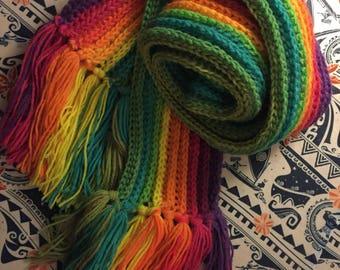 Rainbow Ribbed Pattern Scarf