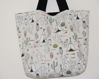 Tote bag / Tote / beach bag - cotton double - patterns Teepees / Cactus / arrows - multicolored