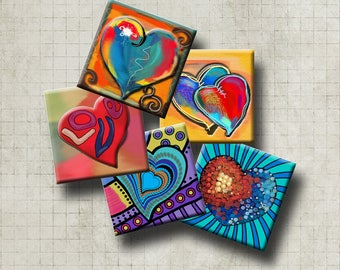 FUNKY HEARTS -  Digital Collage Sheet 1.5 inch square images for pendants, magnets, decoupage, scrap-booking etc. Instant Download #210.