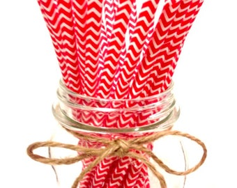 25 Red Chevron paper straws // baby bridal shower decorations // candy dessert buffet table // wedding // First birthday/new year party