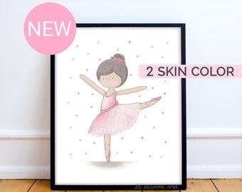 Ballerina print, girls nursery decor, Ballerina wall art, Pink tutu, Ballerina painting, Pink girl room decor, Black ballerina