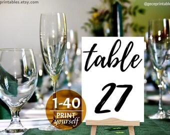 Wedding Table Number — Printable Table Numbers — diy table numbers — black rustic table numbers — wedding table cards — wedding table signs