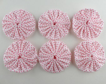 Pink spot fabric yoyos, 6 large size, cotton polyester, polka dot appliques, pink spots on white, hand crafted Suffolk puffs.