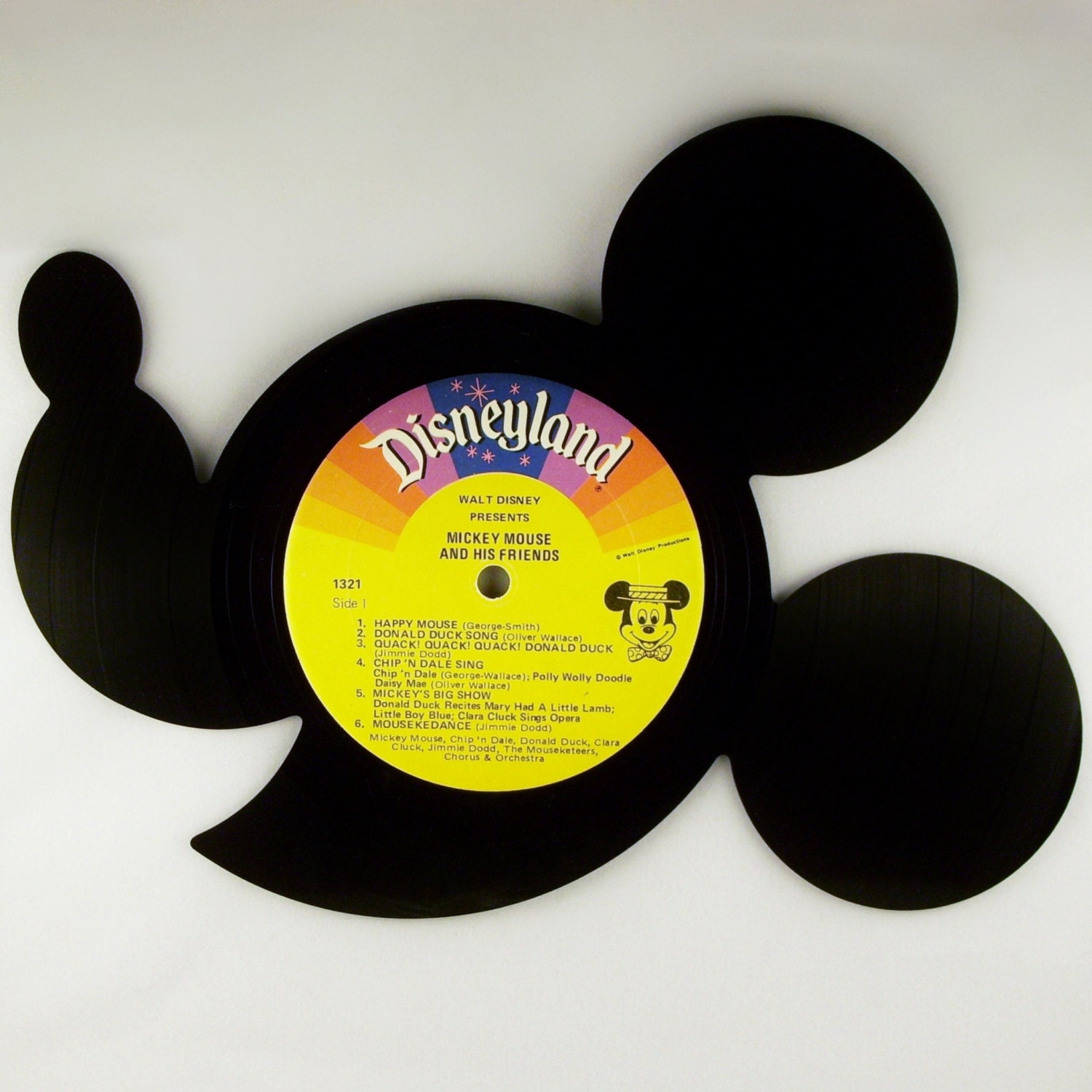Recycled Vinyl Record Disney\'s MICKEY MOUSE Wall Art