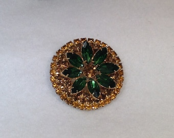 Brown and Green Vintage Brooch