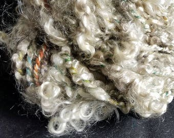 Handspun Local First Clip Kid Mohair/Cashmere 50 yds 7 oz Natural Lock Spun Art Yarn Plied w/Cashmere Quilting/Crochet/Knitting/Doll Hair