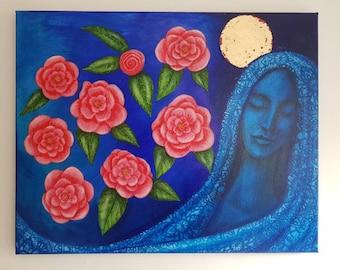 Blue Madonna and Camelias