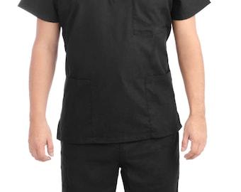 Black Medical Scrub Uniform Set