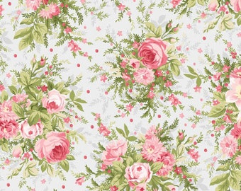 Pink Roses Fabric, Shabby Chic Quilt Fabric, Maywood Studio Heather MAS 8390 K Jennifer Bosworth, Gray & Pink Cottage Chic Floral Cotton
