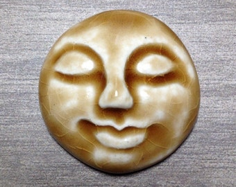 Large Smooth Face Ceramic Cabochon Stone in Peachy Tan
