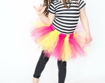 Tutu Dress - Pink and Yellow - Birthday Tutu - Ballerina Tutu - Toddler Tutu - Baby Tutu - Girls Tutu - Newborn Tutu- Gifts under 30