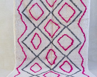 "AZILAL. 7'7""x5'Vintage Moroccan Rug. Wool Beni Ourain Carpet. Modern Design."