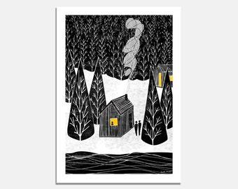 Cabin Art Print / wall art / graphic print / home / black and white / yellow / home / winter / landscape / forest / snow / forest / cosy