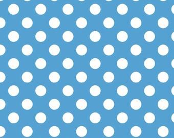 Blue Dot Fabric, Riley Blake C360-22 Medium Blue Dot, Cornflower Blue & White Dot Fabric, Blue Dot Quilt Fabric, Blue Cotton Dot Fabric,
