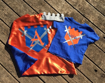 Personalized Knight or King Superhero Cape, Castle T-Shirt and Crown-Ultimate Boy Birthday Party Medieval Custom Super Hero Set