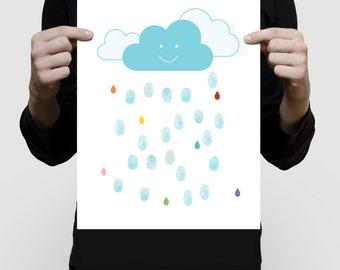 showers of joy fingerprint guest book for baby shower for girl or boy, printed nursery art blue cloud colourful rain drops unique custom art
