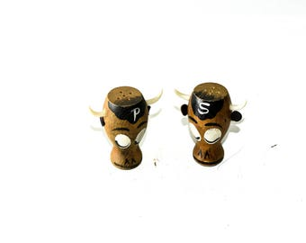 Bull Head Wood Salt and Pepper Shakers