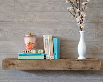 SMALL Rustic Reclaimed Wood Shelves - Barnwood Floating Shelf - Choose your size - Custom Size - 18, 20, 22, 24, 30, 36 Inches -