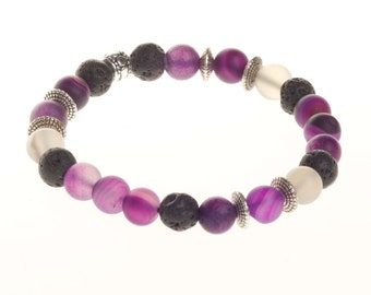 Purple Agate and Lava Bead Essential Oil Diffuser Bracelet