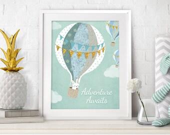 Nursery Printable, Nursery Wall Art, Nursery Prints, Baby Prints, Adventure Print, Hot Air Balloon Nursery, Printable Art, Mint Nursery