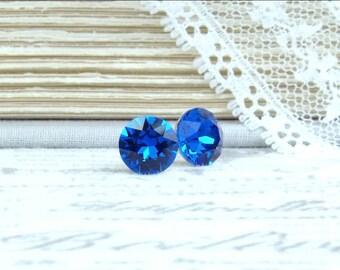 8mm Blue Earrings Blue Crystal Studs Crystal Stud Earrings Large Crystal Studs Blue Gift Surgical Steel