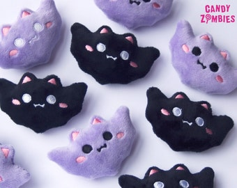 HAIR CLIP BAT Kawaii bat bats in black or lavender - fluffy pastel goth hairpuff - embroidered on soft minky fleece