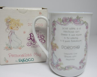Precious Moments Personalized Mug- Dorothy, by Enesco, 1989, Vintage Name Mug